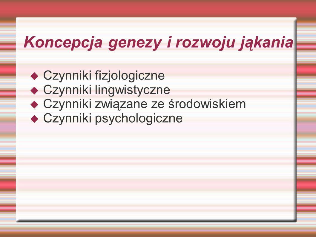 Koncepcja genezy i rozwoju jąkania  Czynniki fizjologiczne  Czynniki lingwistyczne  Czynniki związane ze środowiskiem  Czynniki psychologiczne