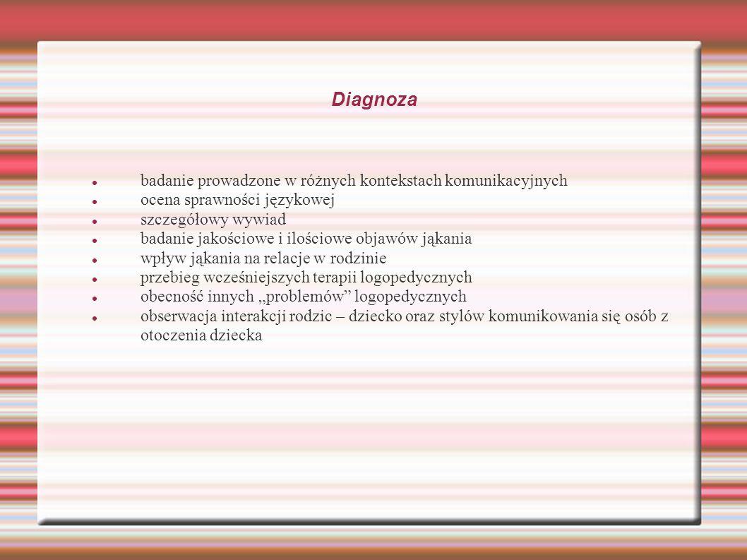 Diagnoza badanie prowadzone w różnych kontekstach komunikacyjnych ocena sprawności językowej szczegółowy wywiad badanie jakościowe i ilościowe objawów