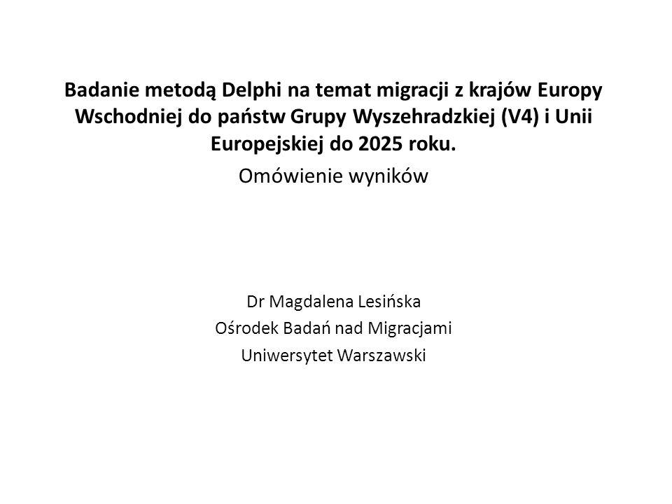 Badanie metodą Delphi na temat migracji z krajów Europy Wschodniej do państw Grupy Wyszehradzkiej (V4) i Unii Europejskiej do 2025 roku.