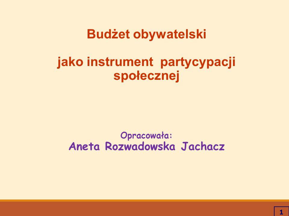 1 Budżet obywatelski jako instrument partycypacji społecznej Opracowała: Aneta Rozwadowska Jachacz
