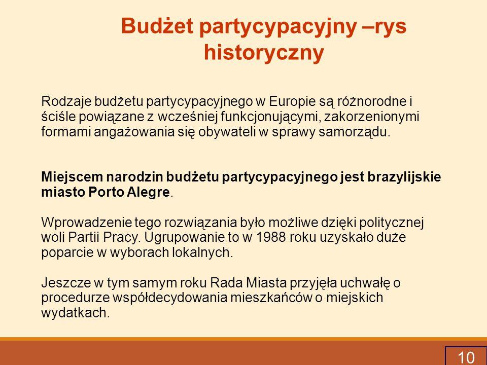 10 Budżet partycypacyjny –rys historyczny Rodzaje budżetu partycypacyjnego w Europie są różnorodne i ściśle powiązane z wcześniej funkcjonującymi, zakorzenionymi formami angażowania się obywateli w sprawy samorządu.