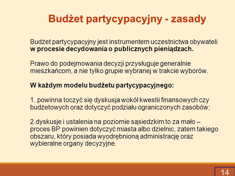 14 Budżet partycypacyjny - zasady Budżet partycypacyjny jest instrumentem uczestnictwa obywateli w procesie decydowania o publicznych pieniądzach.