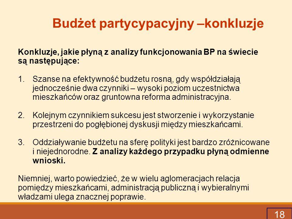 18 Budżet partycypacyjny –konkluzje Konkluzje, jakie płyną z analizy funkcjonowania BP na świecie są następujące: 1.Szanse na efektywność budżetu rosną, gdy współdziałają jednocześnie dwa czynniki – wysoki poziom uczestnictwa mieszkańców oraz gruntowna reforma administracyjna.