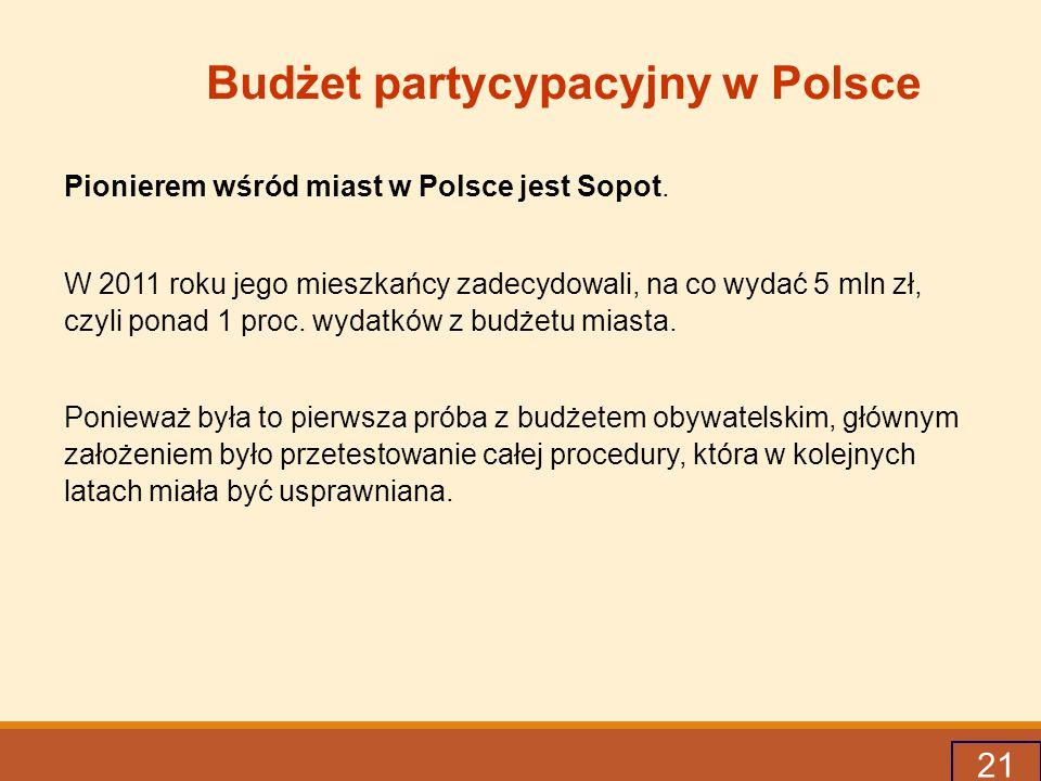 21 Budżet partycypacyjny w Polsce Pionierem wśród miast w Polsce jest Sopot.