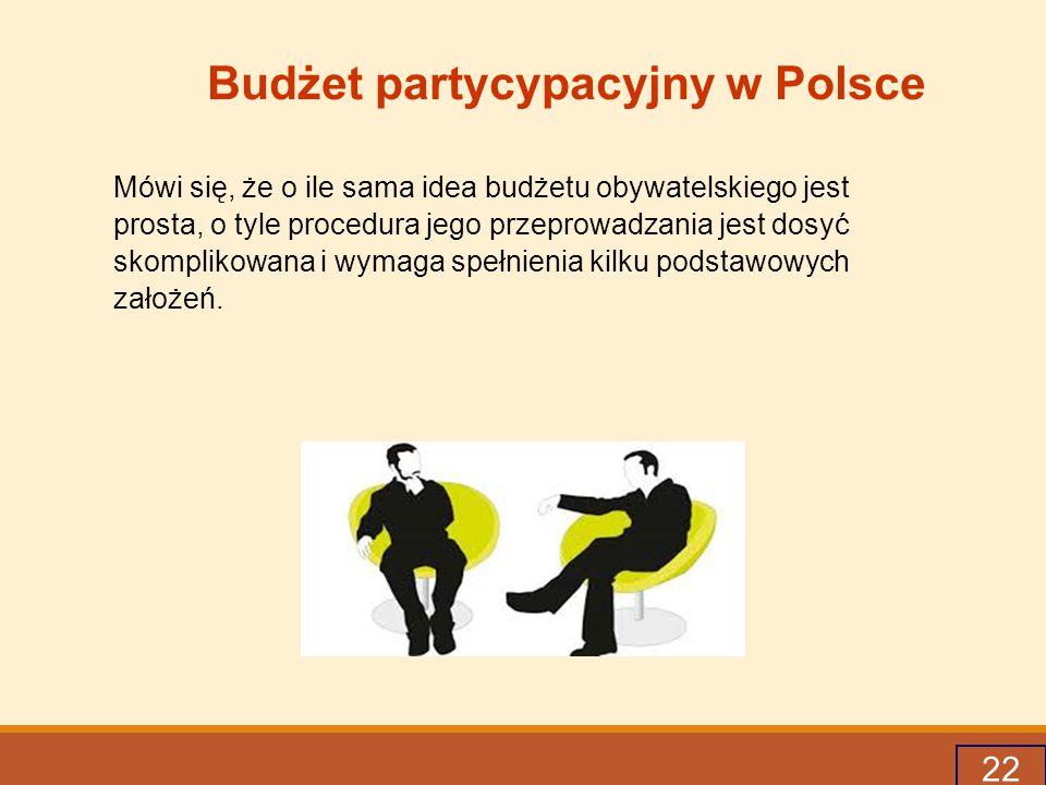 22 Budżet partycypacyjny w Polsce Mówi się, że o ile sama idea budżetu obywatelskiego jest prosta, o tyle procedura jego przeprowadzania jest dosyć skomplikowana i wymaga spełnienia kilku podstawowych założeń.