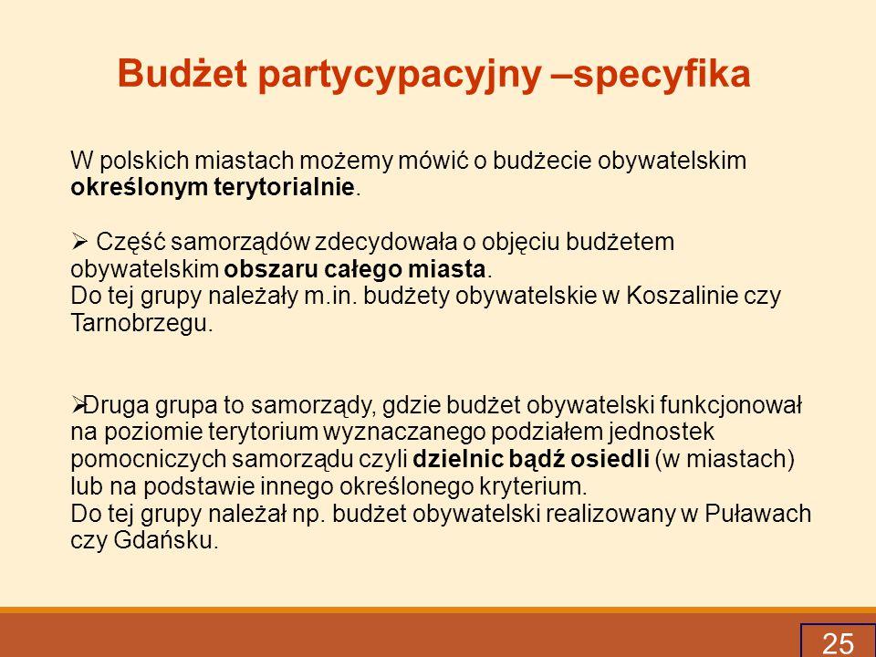 25 Budżet partycypacyjny –specyfika W polskich miastach możemy mówić o budżecie obywatelskim określonym terytorialnie.