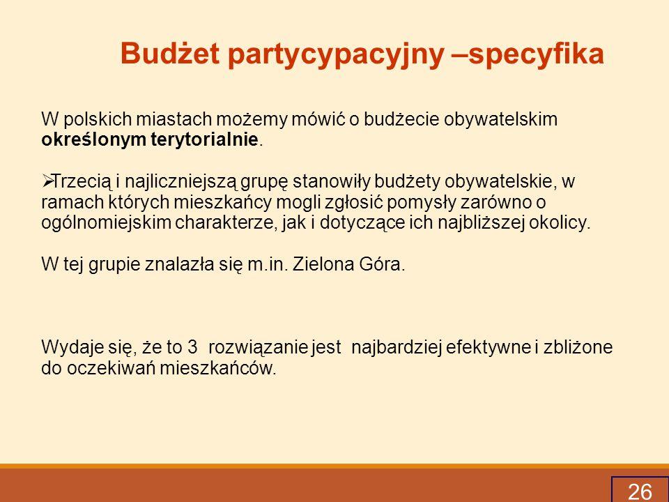 26 Budżet partycypacyjny –specyfika W polskich miastach możemy mówić o budżecie obywatelskim określonym terytorialnie.