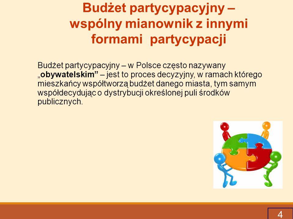 """4 Budżet partycypacyjny – wspólny mianownik z innymi formami partycypacji Budżet partycypacyjny – w Polsce często nazywany """"obywatelskim – jest to proces decyzyjny, w ramach którego mieszkańcy współtworzą budżet danego miasta, tym samym współdecydując o dystrybucji określonej puli środków publicznych."""