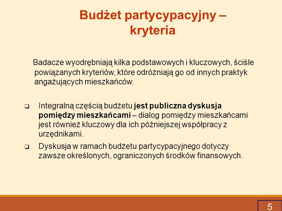 5 Budżet partycypacyjny – kryteria Badacze wyodrębniają kilka podstawowych i kluczowych, ściśle powiązanych kryteriów, które odróżniają go od innych praktyk angażujących mieszkańców.