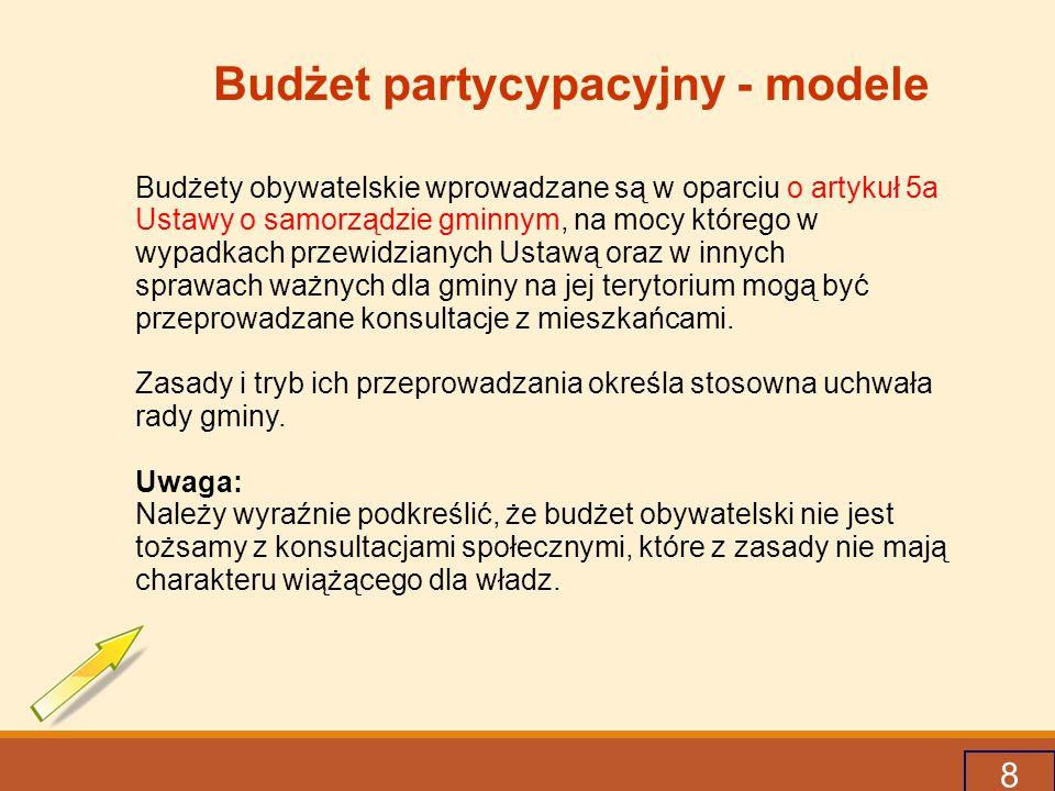 8 Budżet partycypacyjny - modele Budżety obywatelskie wprowadzane są w oparciu o artykuł 5a Ustawy o samorządzie gminnym, na mocy którego w wypadkach przewidzianych Ustawą oraz w innych sprawach ważnych dla gminy na jej terytorium mogą być przeprowadzane konsultacje z mieszkańcami.
