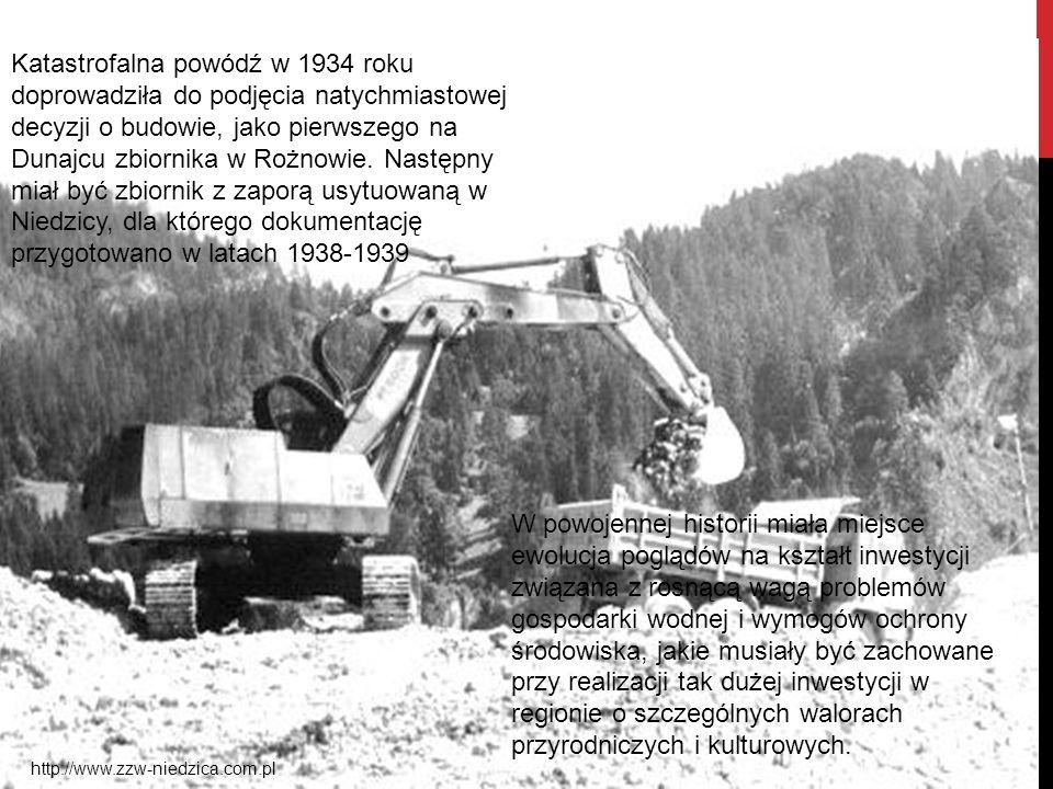 Katastrofalna powódź w 1934 roku doprowadziła do podjęcia natychmiastowej decyzji o budowie, jako pierwszego na Dunajcu zbiornika w Rożnowie. Następny