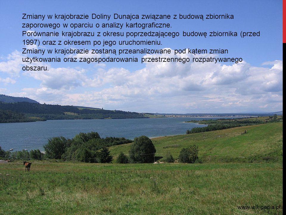 Zmiany w krajobrazie Doliny Dunajca związane z budową zbiornika zaporowego w oparciu o analizy kartograficzne. Porównanie krajobrazu z okresu poprzedz