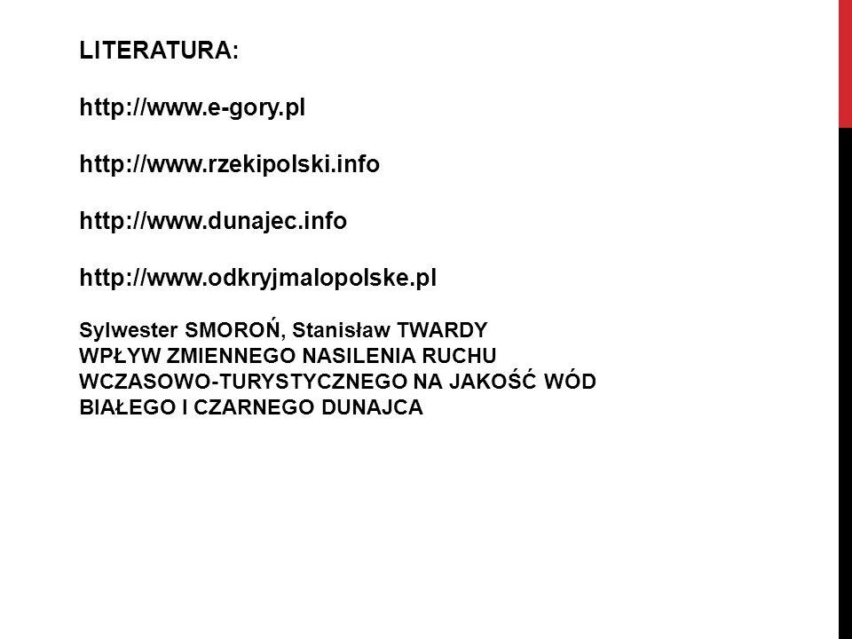 LITERATURA: http://www.e-gory.pl http://www.rzekipolski.info http://www.dunajec.info http://www.odkryjmalopolske.pl Sylwester SMOROŃ, Stanisław TWARDY