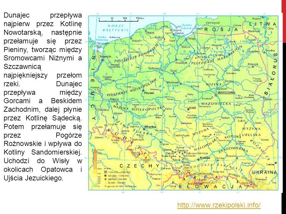http://www.rzekipolski.info/ Dunajec przepływa najpierw przez Kotlinę Nowotarską, następnie przełamuje się przez Pieniny, tworząc między Sromowcami Ni