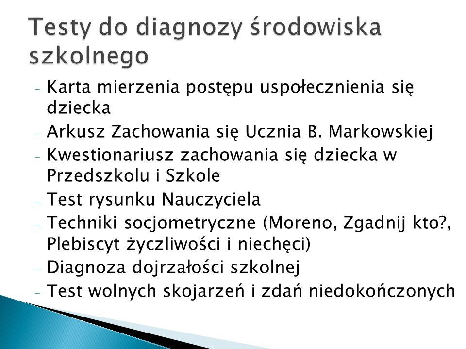 - Karta mierzenia postępu uspołecznienia się dziecka - Arkusz Zachowania się Ucznia B. Markowskiej - Kwestionariusz zachowania się dziecka w Przedszko
