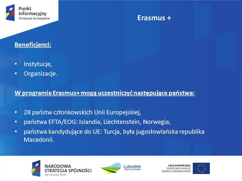 Erasmus + Beneficjenci: Instytucje, Organizacje. W programie Erasmus+ mogą uczestniczyć następujące państwa: 28 państw członkowskich Unii Europejskiej