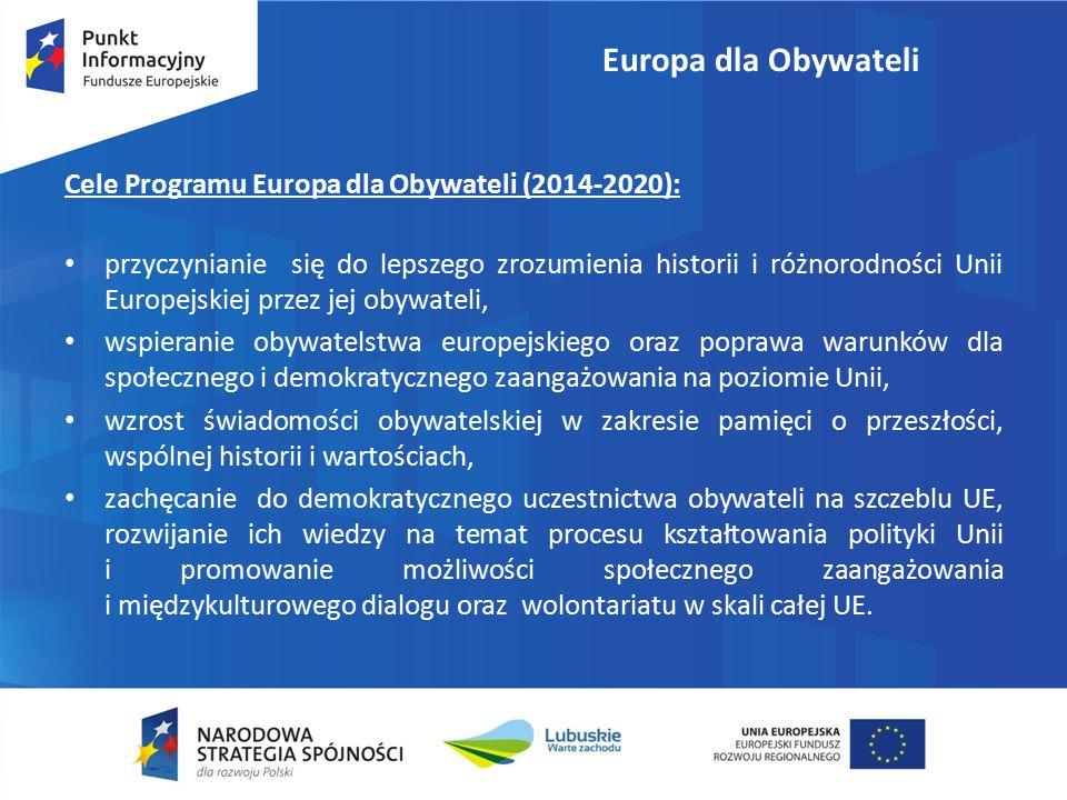 Europa dla Obywateli Cele Programu Europa dla Obywateli (2014-2020): przyczynianie się do lepszego zrozumienia historii i różnorodności Unii Europejskiej przez jej obywateli, wspieranie obywatelstwa europejskiego oraz poprawa warunków dla społecznego i demokratycznego zaangażowania na poziomie Unii, wzrost świadomości obywatelskiej w zakresie pamięci o przeszłości, wspólnej historii i wartościach, zachęcanie do demokratycznego uczestnictwa obywateli na szczeblu UE, rozwijanie ich wiedzy na temat procesu kształtowania polityki Unii i promowanie możliwości społecznego zaangażowania i międzykulturowego dialogu oraz wolontariatu w skali całej UE.