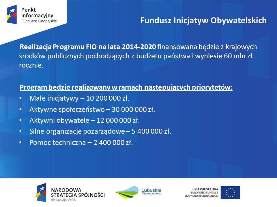 Fundusz Inicjatyw Obywatelskich Realizacja Programu FIO na lata 2014-2020 finansowana będzie z krajowych środków publicznych pochodzących z budżetu państwa i wyniesie 60 mln zł rocznie.