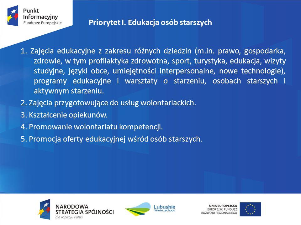 Priorytet I. Edukacja osób starszych 1. Zajęcia edukacyjne z zakresu różnych dziedzin (m.in.