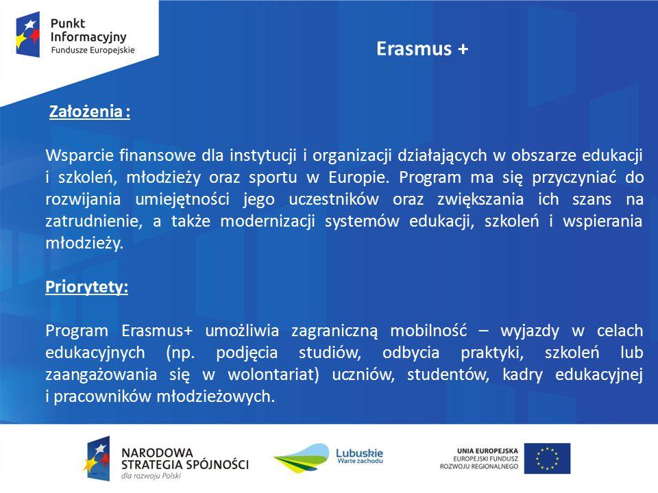 Erasmus + Założenia : Wsparcie finansowe dla instytucji i organizacji działających w obszarze edukacji i szkoleń, młodzieży oraz sportu w Europie.