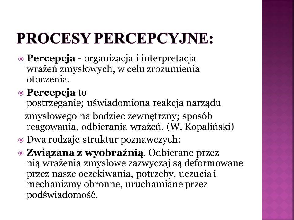 Percepcja - organizacja i interpretacja wrażeń zmysłowych, w celu zrozumienia otoczenia.  Percepcja to postrzeganie; uświadomiona reakcja narządu z