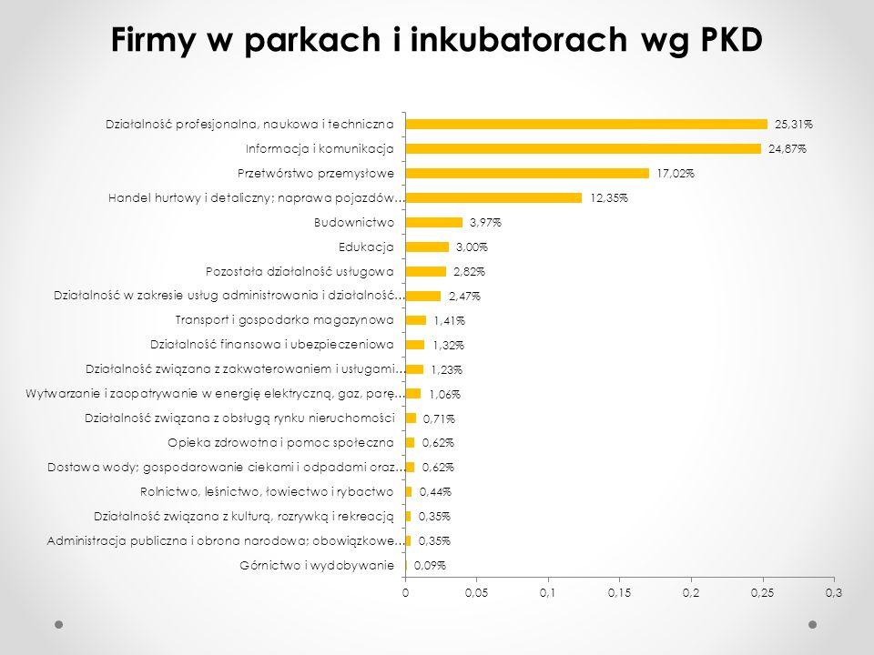 Firmy w parkach i inkubatorach wg PKD