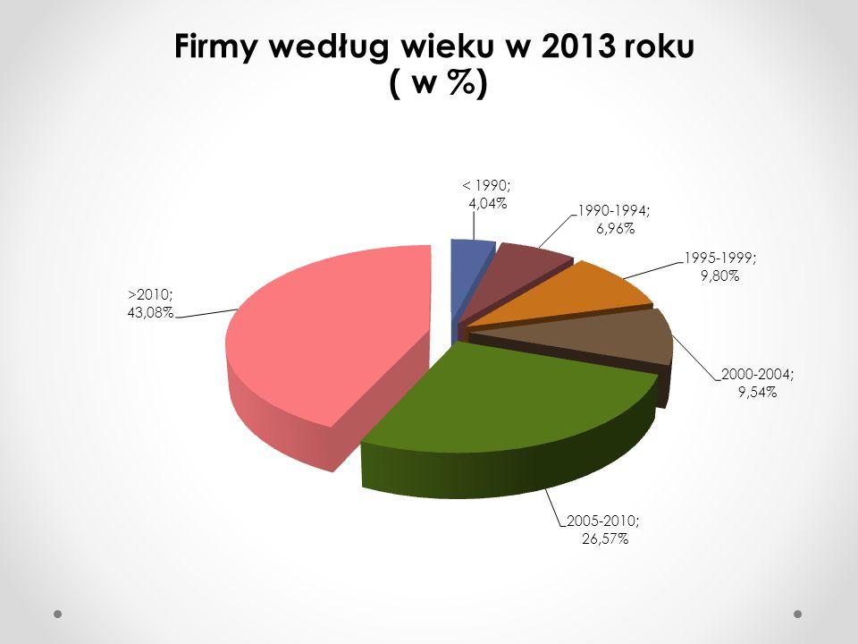 Zarządzający wg. grup wiekowych firm w 2013 r.