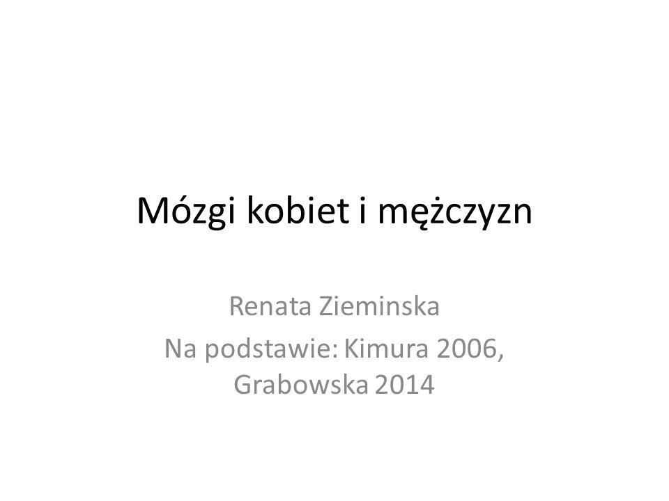 Mózgi kobiet i mężczyzn Renata Zieminska Na podstawie: Kimura 2006, Grabowska 2014