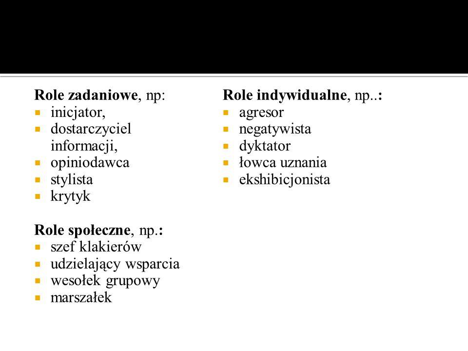 Magdalena Kalińska Uniwersytet Mikołaja Kopernika Role zadaniowe, np:  inicjator,  dostarczyciel informacji,  opiniodawca  stylista  krytyk Role