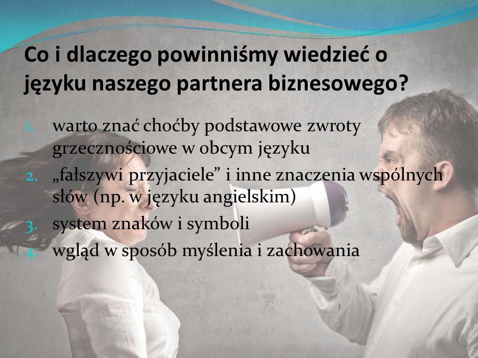 """Co i dlaczego powinniśmy wiedzieć o języku naszego partnera biznesowego? 1. warto znać choćby podstawowe zwroty grzecznościowe w obcym języku 2. """"fałs"""