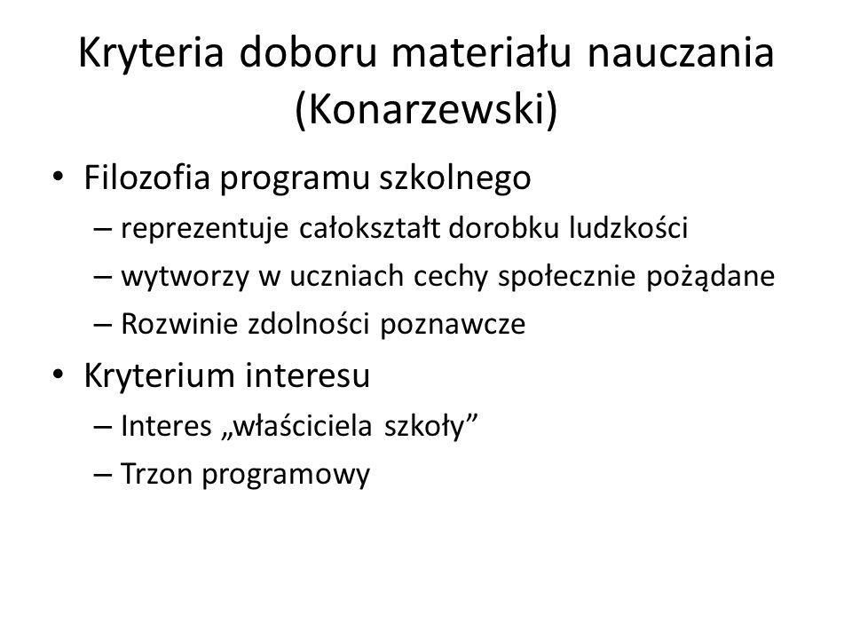 Kryteria doboru materiału nauczania (Konarzewski) Filozofia programu szkolnego – reprezentuje całokształt dorobku ludzkości – wytworzy w uczniach cech
