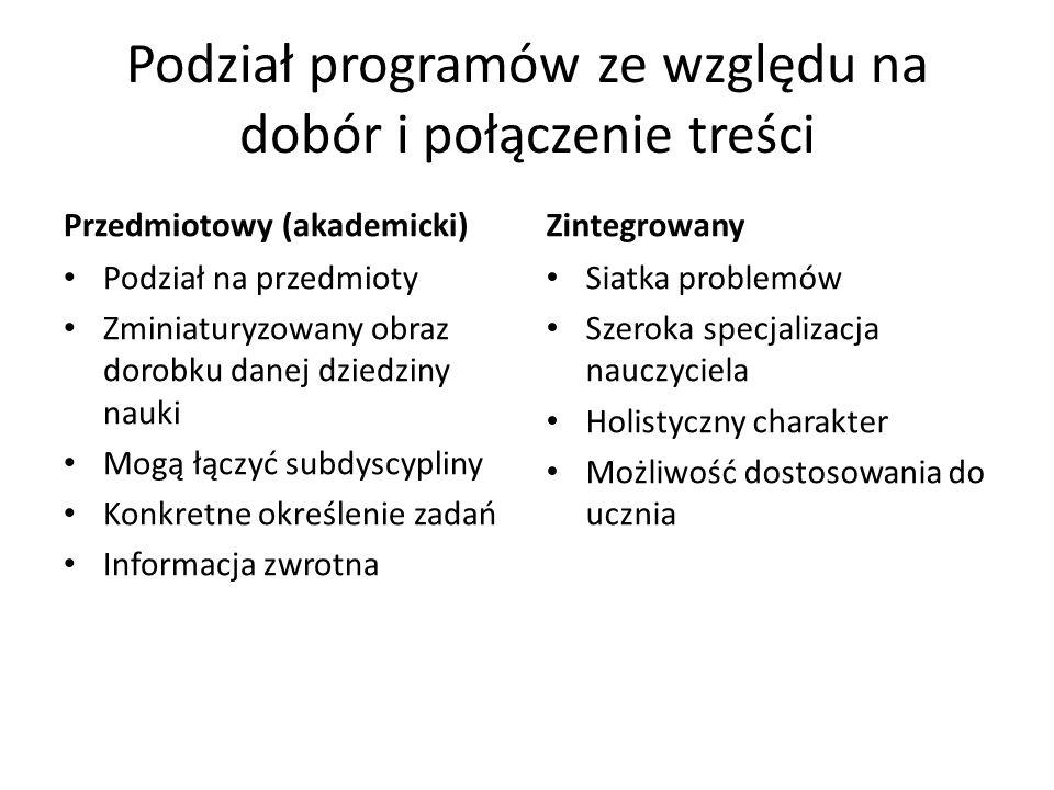 Podział programów ze względu na dobór i połączenie treści Przedmiotowy (akademicki) Podział na przedmioty Zminiaturyzowany obraz dorobku danej dziedzi