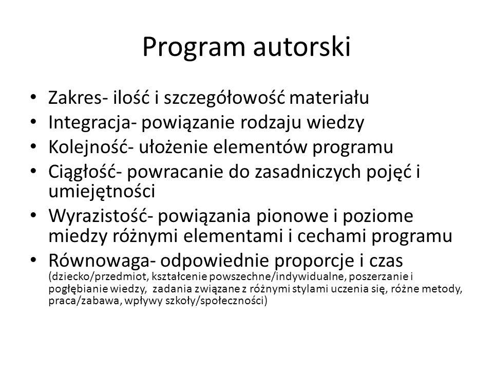 Program autorski Zakres- ilość i szczegółowość materiału Integracja- powiązanie rodzaju wiedzy Kolejność- ułożenie elementów programu Ciągłość- powrac