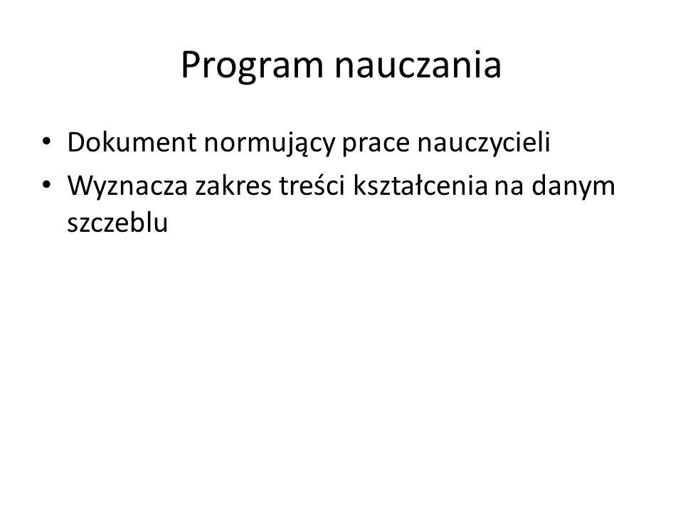 Program nauczania Dokument normujący prace nauczycieli Wyznacza zakres treści kształcenia na danym szczeblu