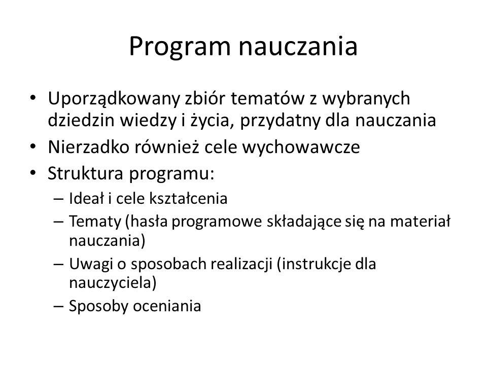 Program nauczania Uporządkowany zbiór tematów z wybranych dziedzin wiedzy i życia, przydatny dla nauczania Nierzadko również cele wychowawcze Struktur