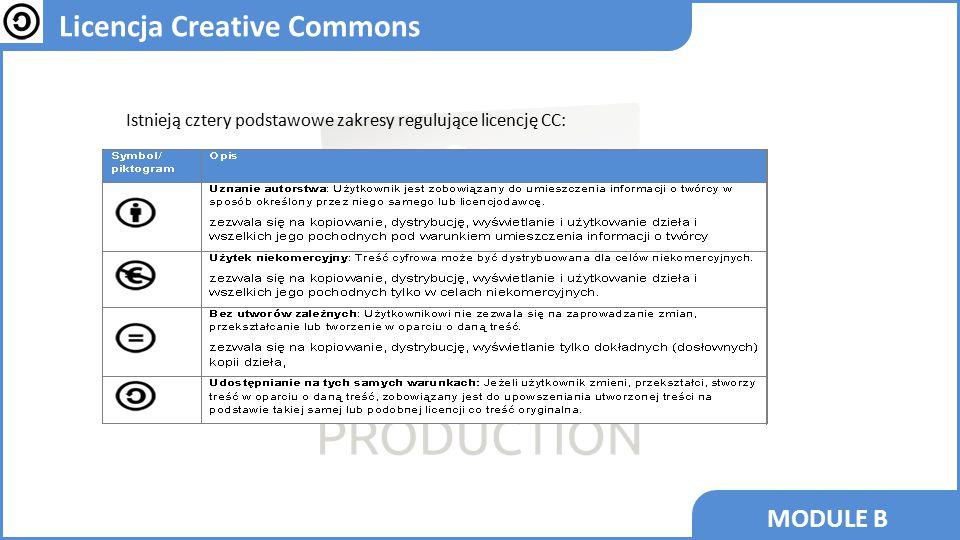 MODULE B Licencja Creative Commons Istnieją cztery podstawowe zakresy regulujące licencję CC: