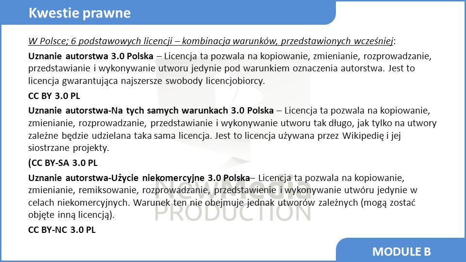 MODULE B W Polsce; 6 podstawowych licencji – kombinacja warunków, przedstawionych wcześniej: Uznanie autorstwa 3.0 Polska – Licencja ta pozwala na kop
