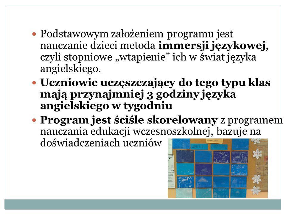 """Podstawowym założeniem programu jest nauczanie dzieci metoda immersji językowej, czyli stopniowe """"wtapienie ich w świat języka angielskiego."""