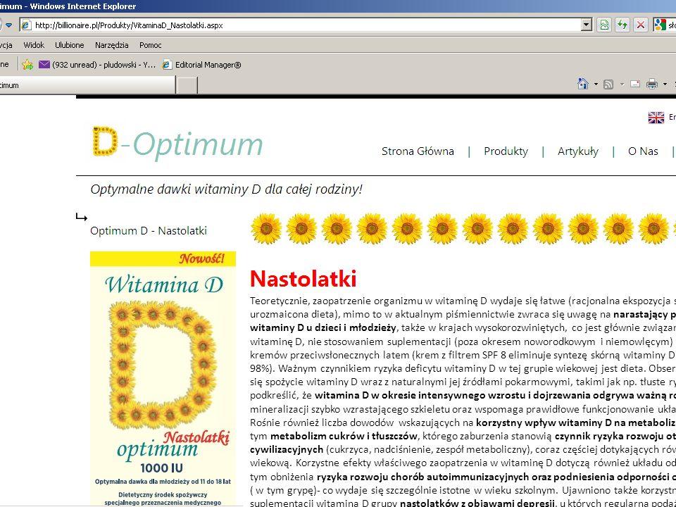 Teoretycznie, zaopatrzenie organizmu w witaminę D wydaje się łatwe (racjonalna ekspozycja skóry na słońce latem, urozmaicona dieta), mimo to w aktualn
