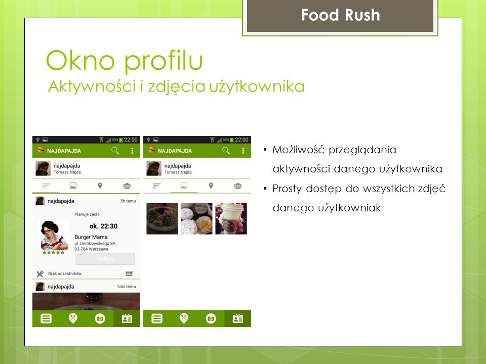 Okno profilu Food Rush Aktywności i zdjęcia użytkownika Możliwość przeglądania aktywności danego użytkownika Prosty dostęp do wszystkich zdjęć danego