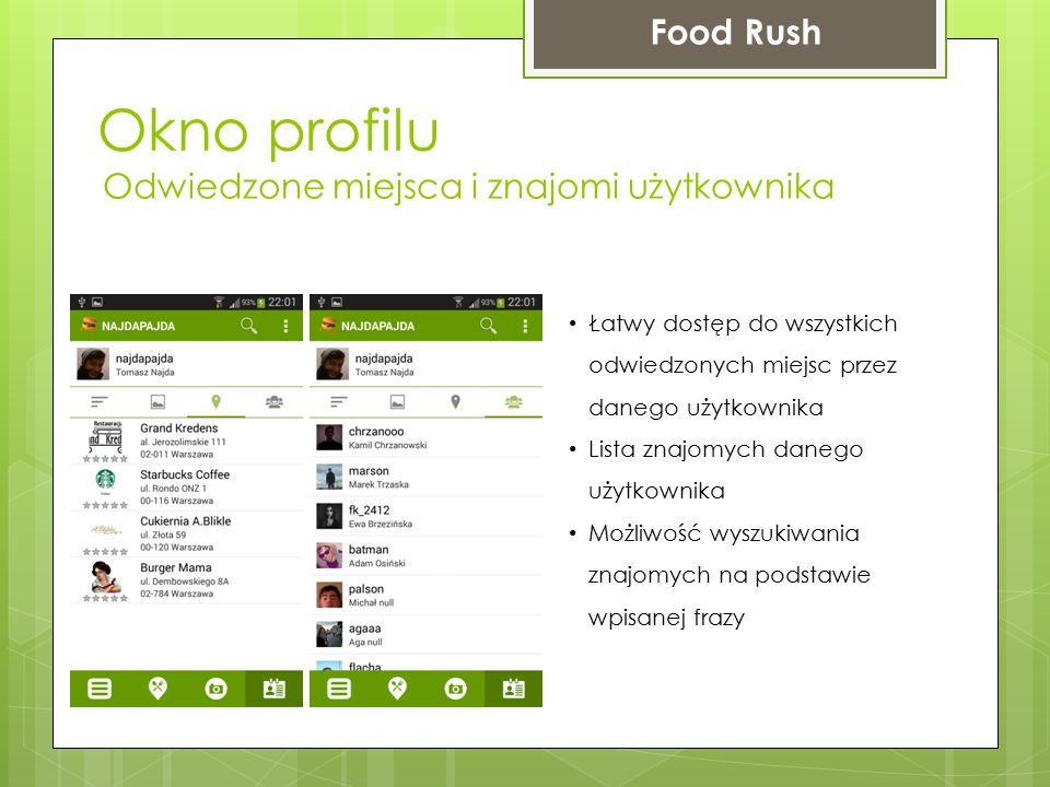 Okno profilu Food Rush Odwiedzone miejsca i znajomi użytkownika Łatwy dostęp do wszystkich odwiedzonych miejsc przez danego użytkownika Lista znajomyc