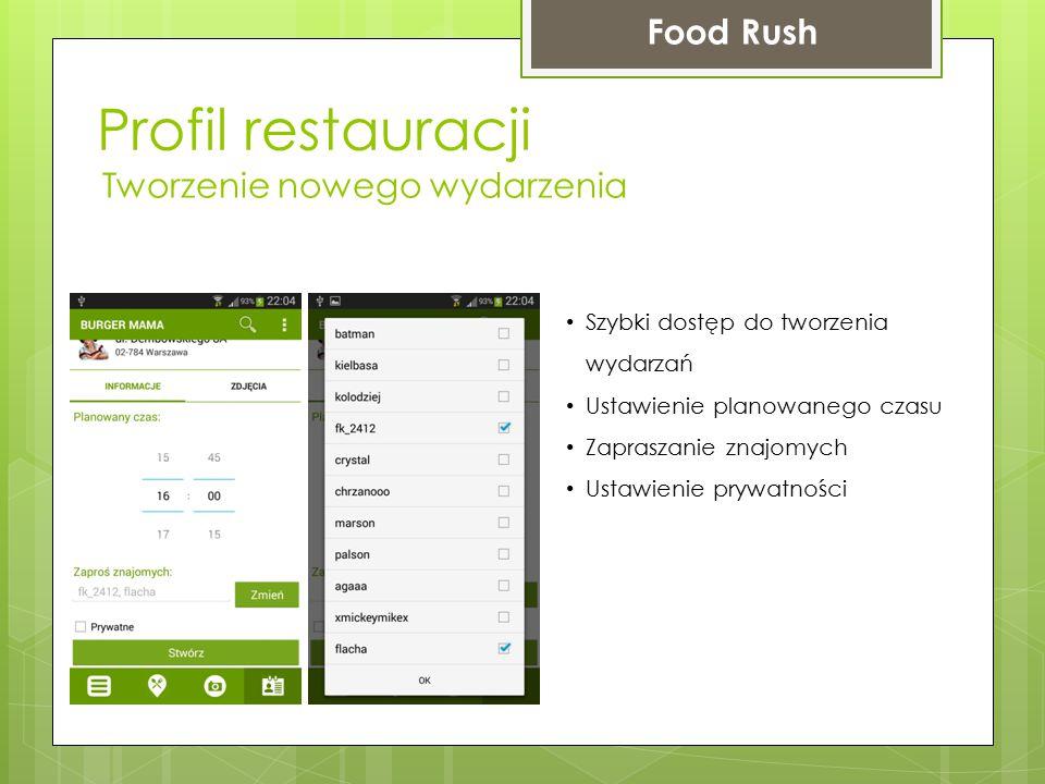 Profil restauracji Food Rush Tworzenie nowego wydarzenia Szybki dostęp do tworzenia wydarzań Ustawienie planowanego czasu Zapraszanie znajomych Ustawi