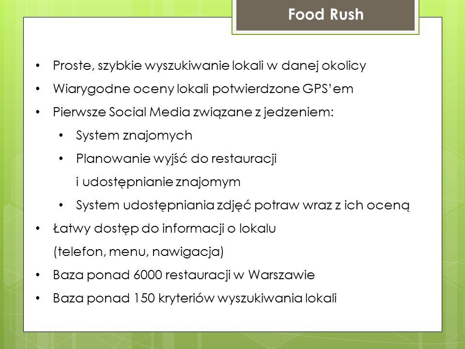 Proste, szybkie wyszukiwanie lokali w danej okolicy Wiarygodne oceny lokali potwierdzone GPS'em Pierwsze Social Media związane z jedzeniem: System znajomych Planowanie wyjść do restauracji i udostępnianie znajomym System udostępniania zdjęć potraw wraz z ich oceną Łatwy dostęp do informacji o lokalu (telefon, menu, nawigacja) Baza ponad 6000 restauracji w Warszawie Baza ponad 150 kryteriów wyszukiwania lokali