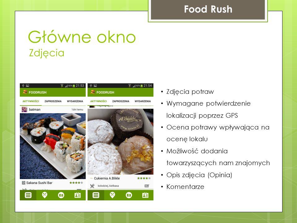 Główne okno Food Rush Zdjęcia Zdjęcia potraw Wymagane potwierdzenie lokalizacji poprzez GPS Ocena potrawy wpływająca na ocenę lokalu Możliwość dodania
