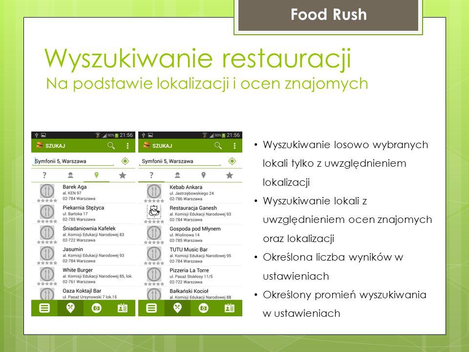 Wyszukiwanie restauracji Food Rush Na podstawie lokalizacji i ocen znajomych Wyszukiwanie losowo wybranych lokali tylko z uwzględnieniem lokalizacji W