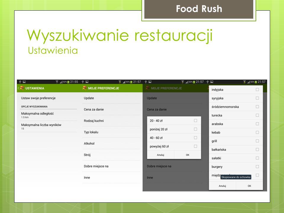 Wyszukiwanie restauracji Food Rush Ustawienia