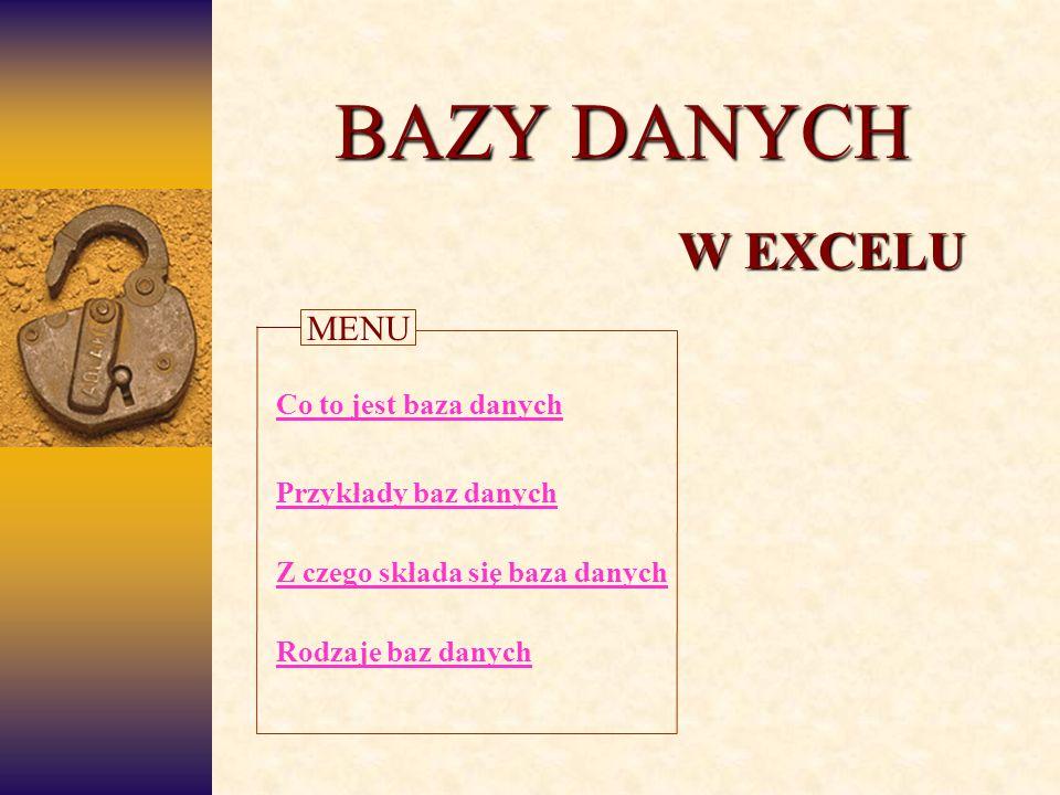 BAZY DANYCH W EXCELU Przykłady baz danych Co to jest baza danych Z czego składa się baza danych Rodzaje baz danych MENU