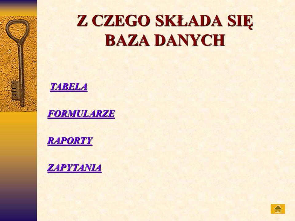 REKORDPOLE NAZWA POLA TABELA Podstawowym obiektem w typowej komputerowej bazie danych jest tabela.
