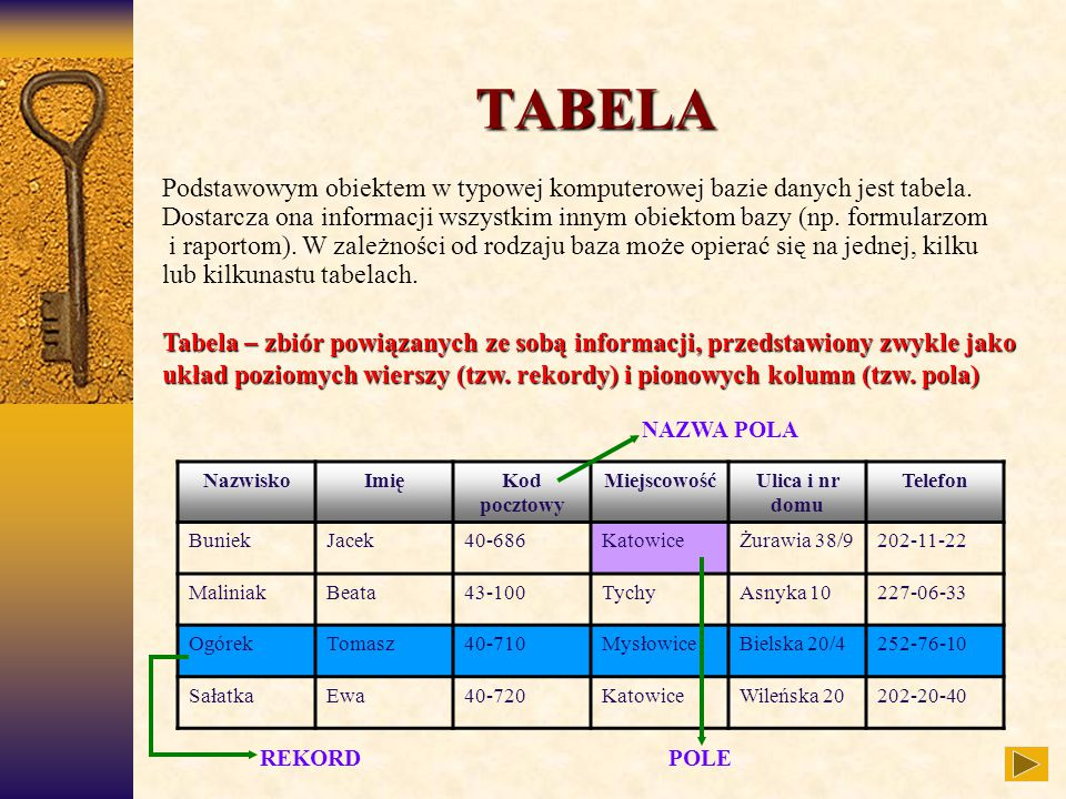 REKORDPOLE NAZWA POLA TABELA Podstawowym obiektem w typowej komputerowej bazie danych jest tabela. Dostarcza ona informacji wszystkim innym obiektom b
