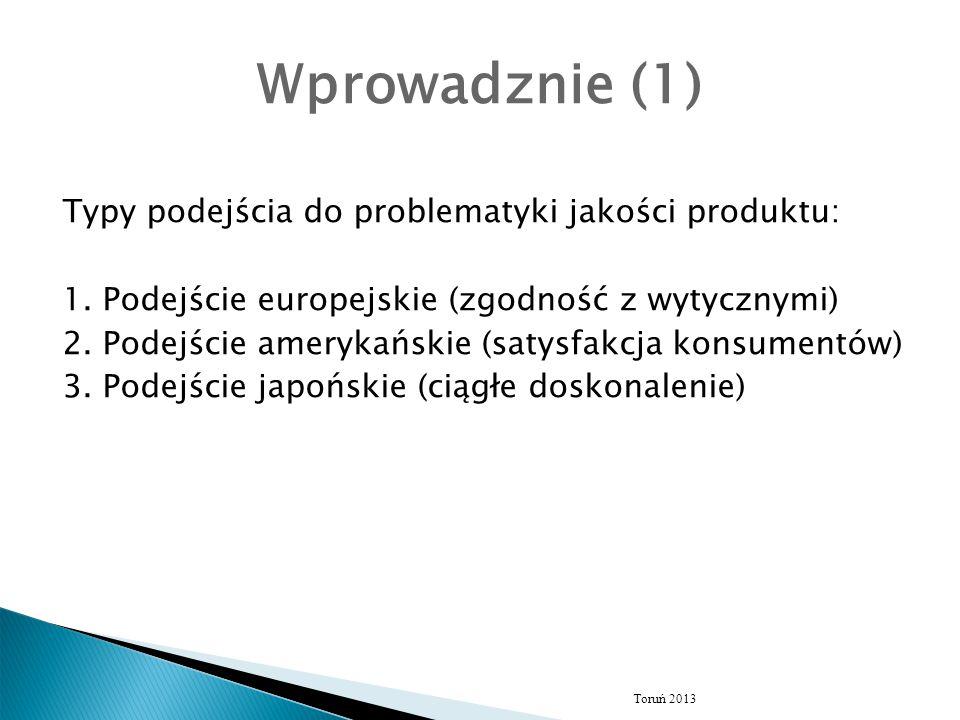 Wprowadznie (1) Typy podejścia do problematyki jakości produktu: 1. Podejście europejskie (zgodność z wytycznymi) 2. Podejście amerykańskie (satysfakc